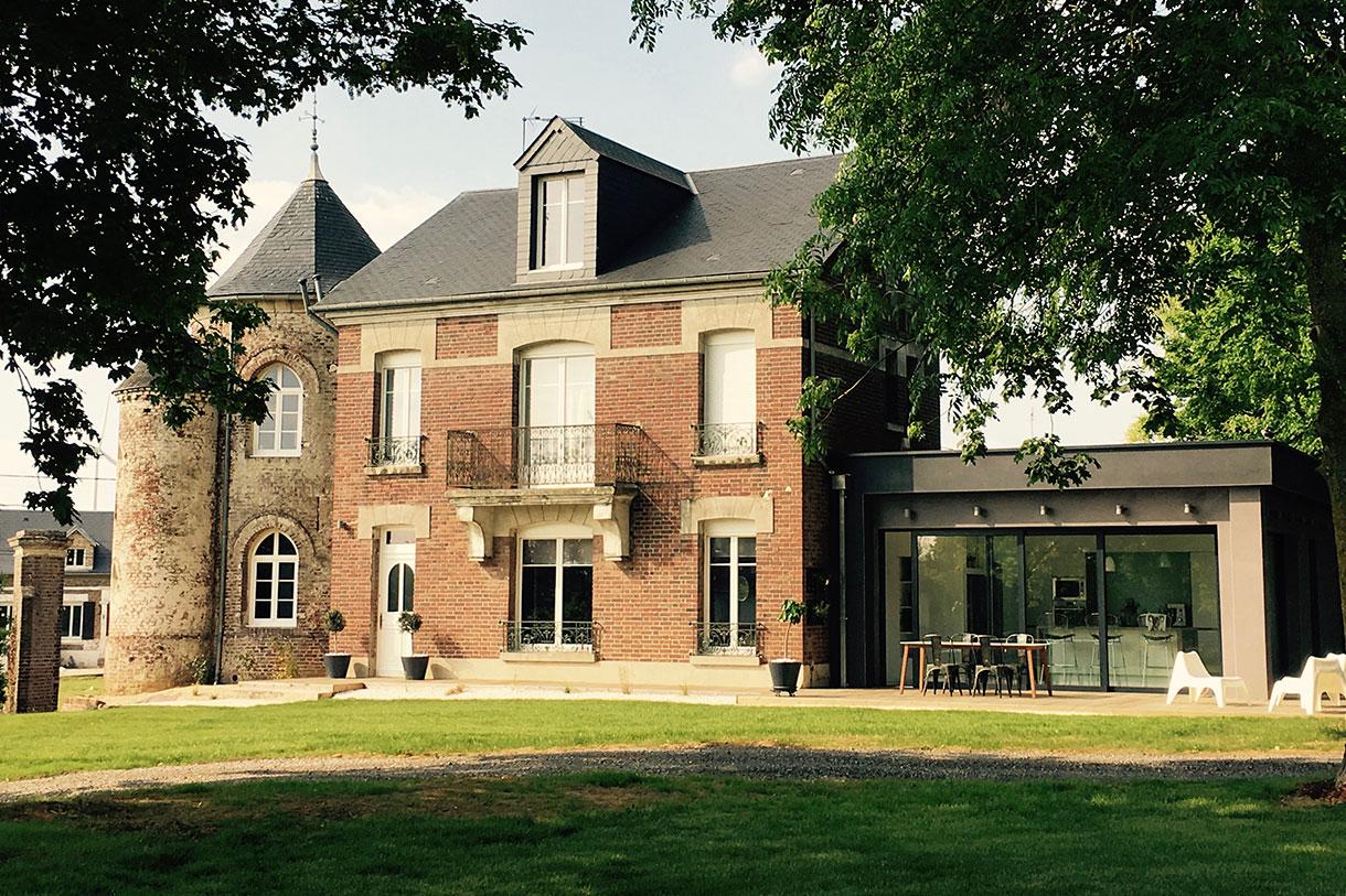 Extension moderne sur terrasse, Angilcourt-le-Saart (02)